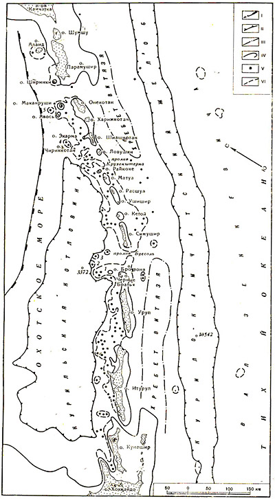 Схема строения Курильской дуги