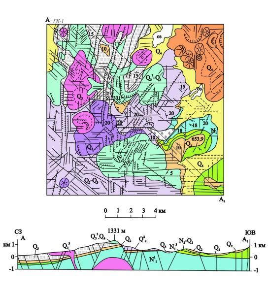 Самыми древними отложениями...  Рис.7.Схема геологического строения участка Центральный (Камбальный хребет) .